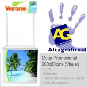mesas de promoción, counters, tel: 2231081 altagrafica.cl