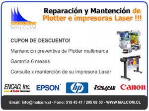 mantencion de plotter, hp, xerox, encad, epson, mantención impresora laser