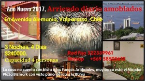 año nuevo 2017 en valparaiso, arriendo amoblado full