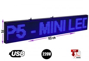 letrero programable led 165 x 20 cm color azul/gran avda. 8051